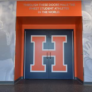 The doors to the lockerroom. Have the big orange H logo on them.