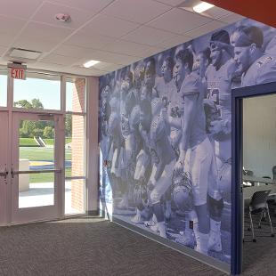 Wall art outside the coaches conference room.