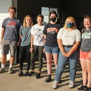 Six students  help with farm work at Renew Therapeutic Riding Center
