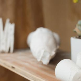 Plaster sculptures.