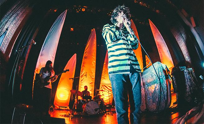 Youth Lagoon performing on stage at Dimnent Chapel