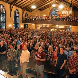 Dimnent Chapel is packed for The Gathering, a weekly worship service.
