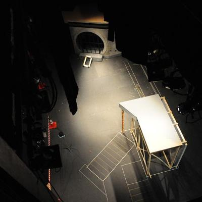 Overhead view of a theatre stage