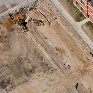 An area view of the beginning of construction on Kruizenga Art Museum.