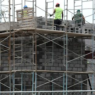 Scaffolding on the side of the building.