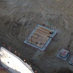 An aerial view of the concrete panels.