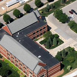 An aerial view of the nearly completed Kruizenga Art Museum.