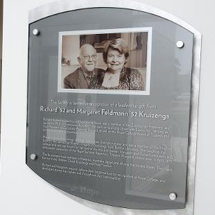 Plaque recognizing Richard and Margaret Kruizenga.