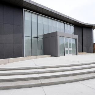 The entrance to the building with DePree Art Gallery  in the background.