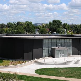 The finished Kruizenga Art Museum is shown from the view on Phelps roof.