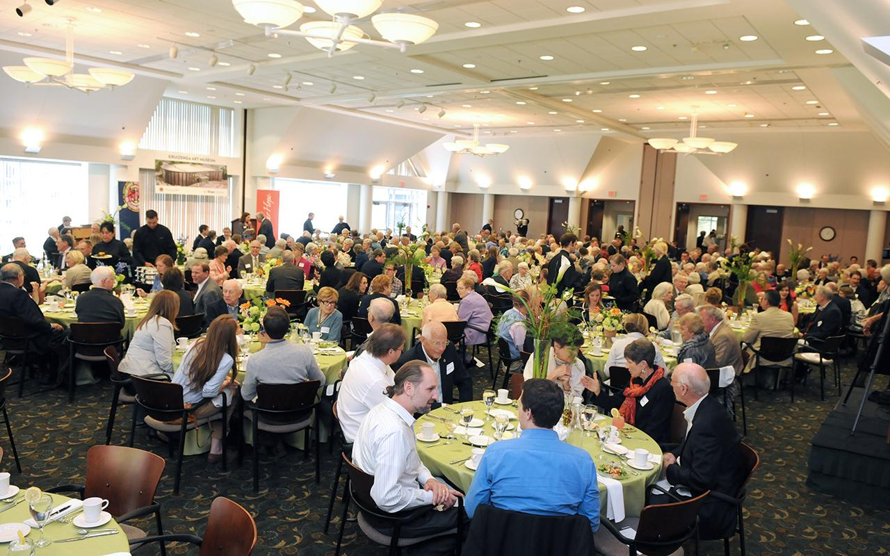 People sitting in the Haworth Inn & Conference Center for the groundbreaking luncheon.
