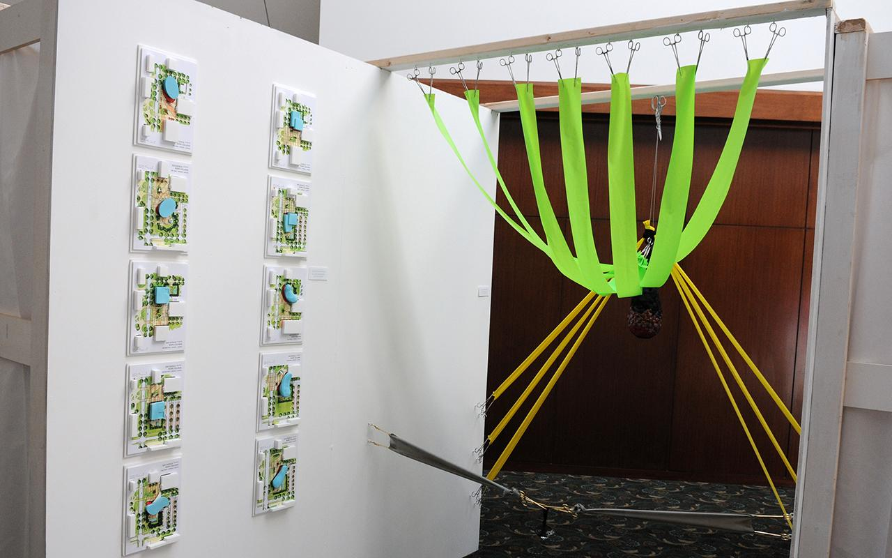 A green and yellow structure.
