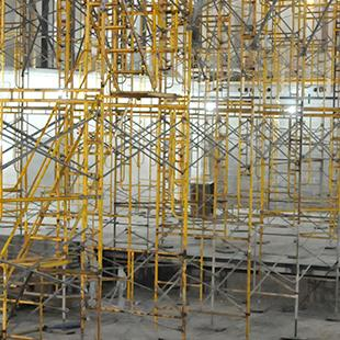 Scaffolding in the inside of one of the section of the building.