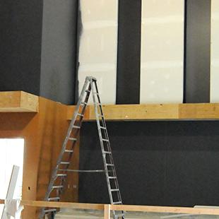 Part of the auditorium, painted black.