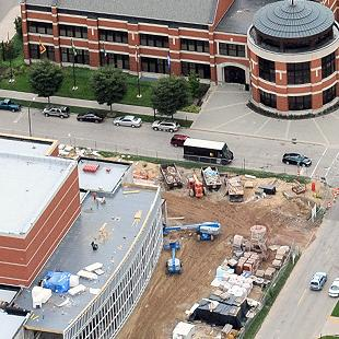An aerial view of the construction site that includes the Martha Miller Center, Gilmore Hall, Dykstra Hall and Phelps Hall.