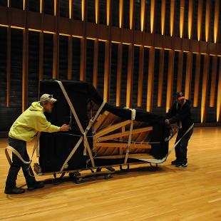 The arrival of a Steinway piano in the Jack H. Miller Center. Photo by Tom Renner on November 2, 2015