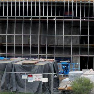 A look at the front of the Jack H. Miller Center construction from Columbia Ave. Setting up the front windows.