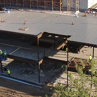 An aerial shot of the Jack H. Miller Center construction site.