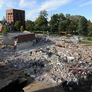 Demolition of Nykerk Hall of Music viewed from the roof  of the DeWitt Center. Photo by Tom Renner on October 2, 2015.
