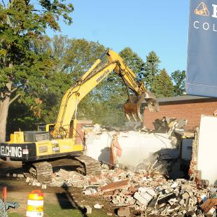 Demolition of Nykerk Hall of Music underway. Photo taken by Greg Olgers on October 1, 2015.