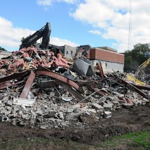 Demolition of Nykerk Hall of Music. Photo by Tom Renner on October 1, 2015
