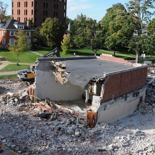 Nykerk Hall of Music Wichers Auditorium is all that remains 24 hours after the demolition begins. Photo by Tom Renner on October 2, 2015.