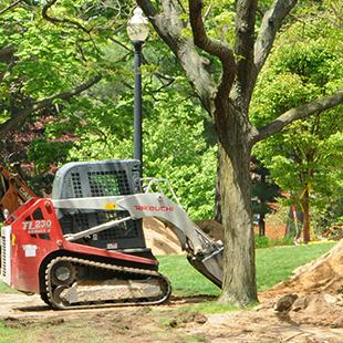 Steam line work takes place in preparation for the new Bultman Student Center project. Photo by Greg Olgers on May 21, 2015