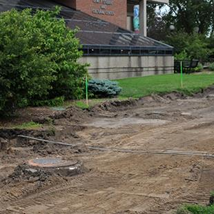 Site preparations for construction of the Jim and Martie Bultman Student Center. Photo by Tom Renner on June 26, 2015