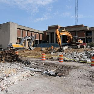 Nykerk Hall of Music demolition nearly completed. Photo by Tom Renner on October 8, 2015.