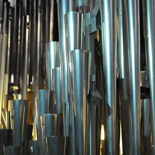 Some of the organ pipes set up.