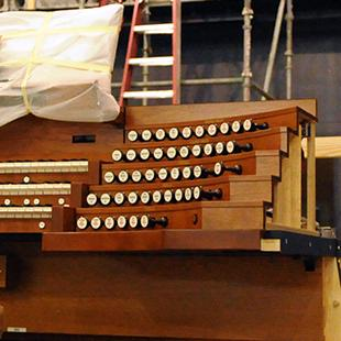 The organ console in the auditorium.
