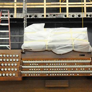The organ console in the auditorium.