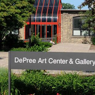 An exterior shot of the DePree Art Center and Gallery