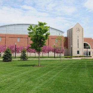 The DeVos Fieldhouse on a spring day