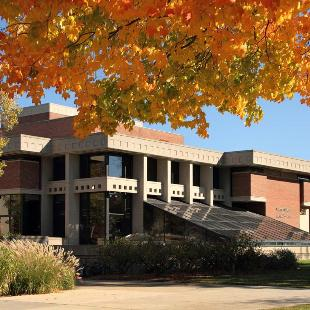 The DeWitt Student & Cultural Center on an autumn day