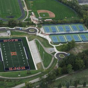 An overhead view of the Ray and Sue Smith Stadium