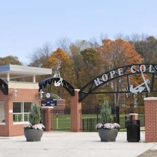 The Hope College arch and anchor over the entrance of the Van Andel Soccer Stadium