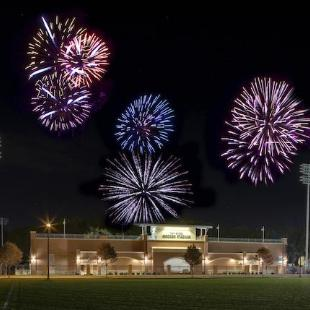 Fireworks fill the night sky above the Van Andel Soccer Stadium