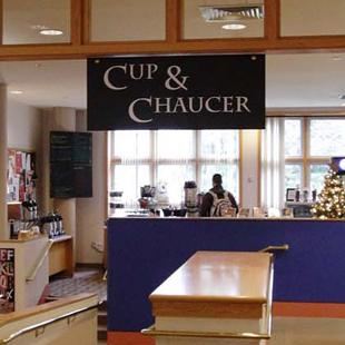 The Cup & Chaucer is a coffee shop in Van Wylen Library