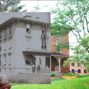 A historic black-and-white photograph held in front of a contemporary shot of Van Vleck Hall
