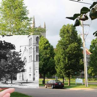 A historic black-and-white photograph held in front of a contemporary shot of Dimnent Chapel