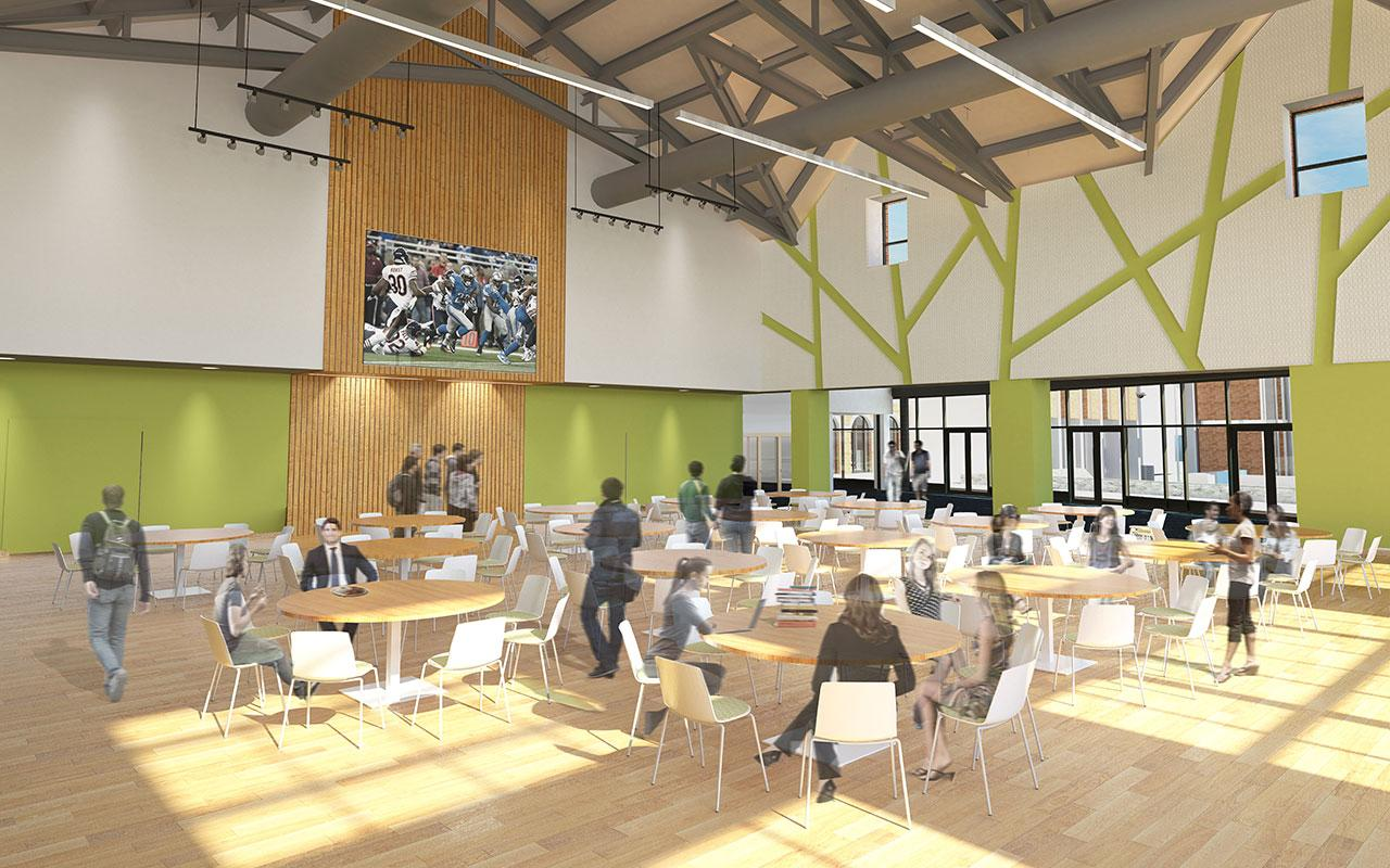 Program Space (north dining option) of the Jim and Martie Bultman Student Center. Schematic design created by Stantec - Philadelphia, PA
