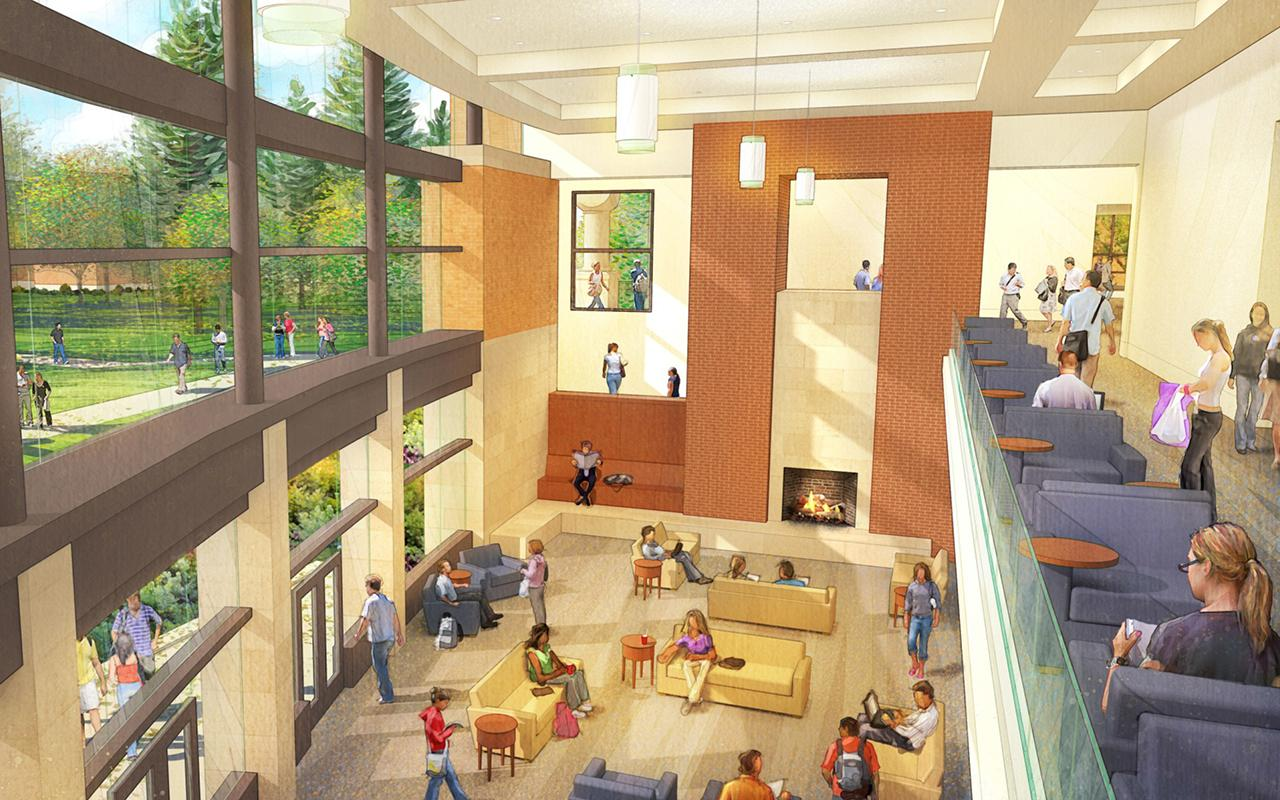 Schematic drawing of the Jim and Martie Bultman Student Center showing the Campus Family Room from the first level perspective.