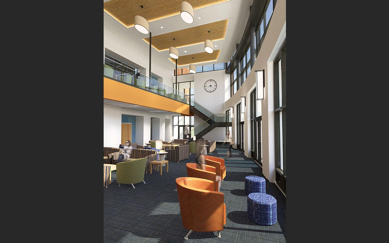 Living area (looking towards stairs) of the Jim and Martie Bultman Student Center. Schematic design created by Stantec - Philadelphia, PA