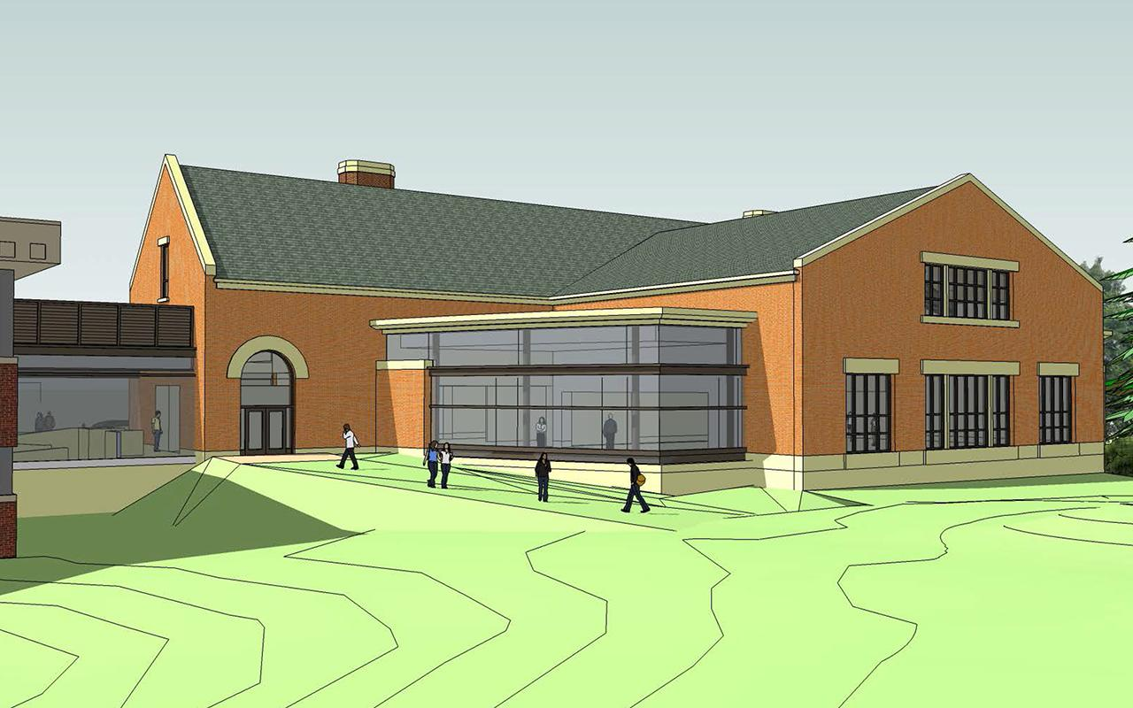 Schematic drawing of the Jim and Martie Bultman Student Center showing the north entrance of the building.