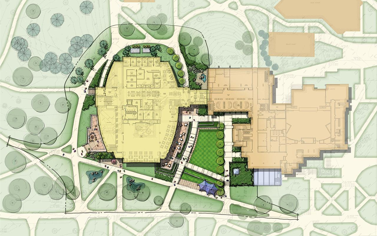 Site plan of the Jim and Martie Bultman Student Center.