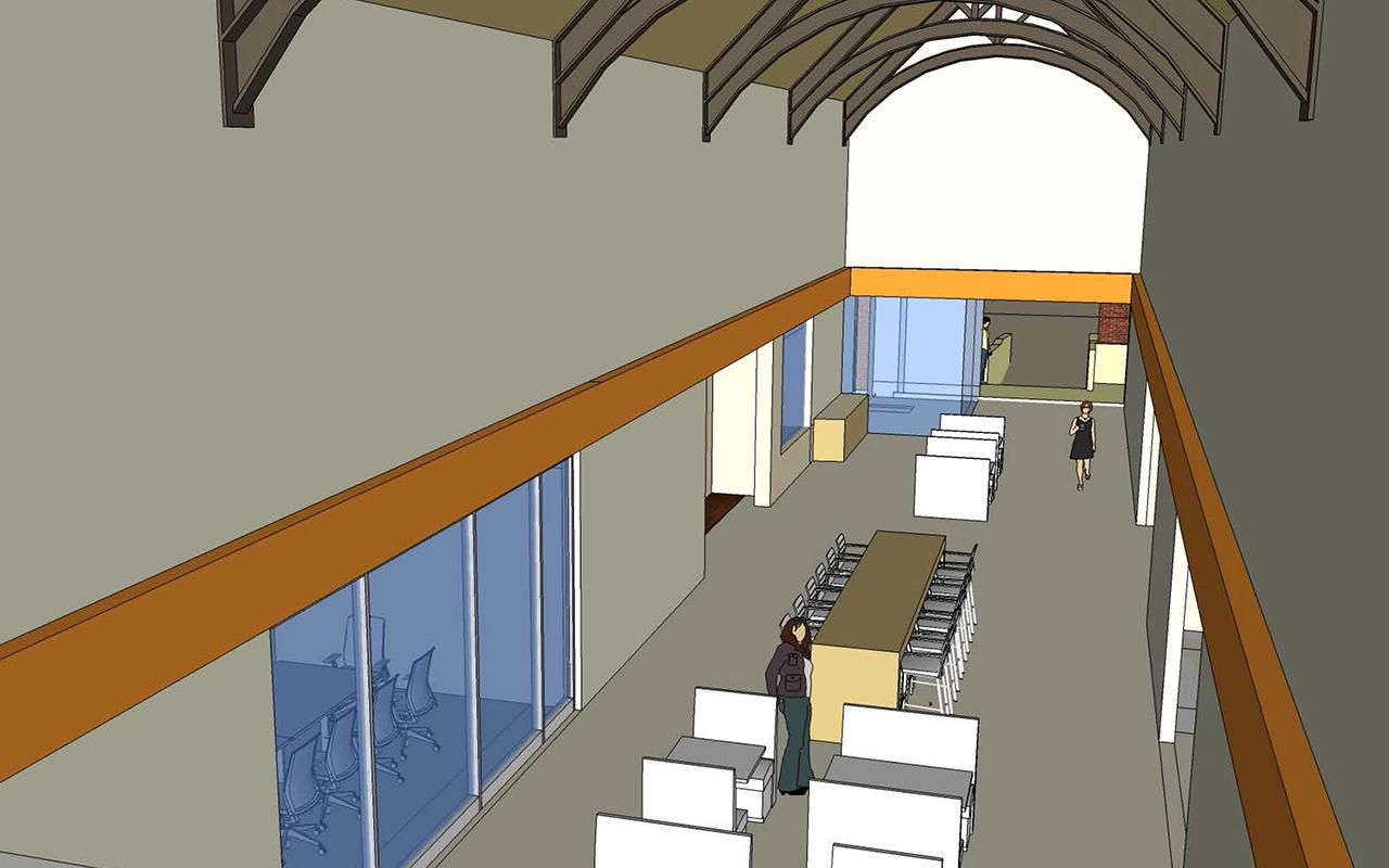 Schematic drawing of the Jim and Martie Bultman Student Center showing the Mezzanine.