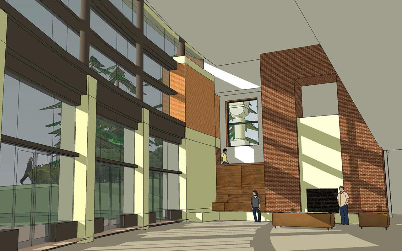 Schematic drawing of the Jim and Martie Bultman Student Center showing the Campus Family Room from the lower level perspective.