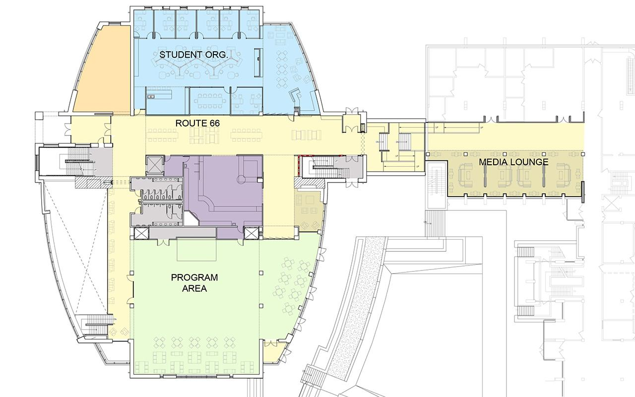 First floor plan of the Jim and Martie Bultman Student Center.