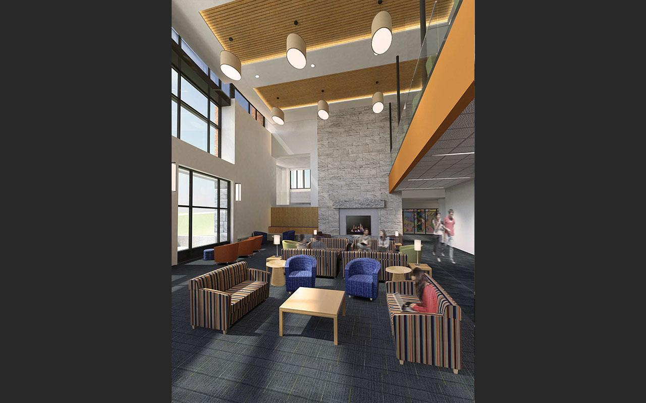 Living area (looking towards fireplace) of the Jim and Martie Bultman Student Center. Schematic design created by Stantec - Philadelphia, PA